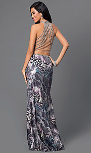 Image of animal-print two-piece Dave and Johnny prom dress. Style: DJ-2304 Back Image