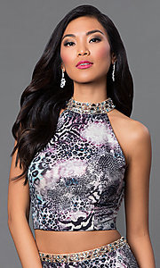 Image of animal-print two-piece Dave and Johnny prom dress. Style: DJ-2304 Detail Image 1