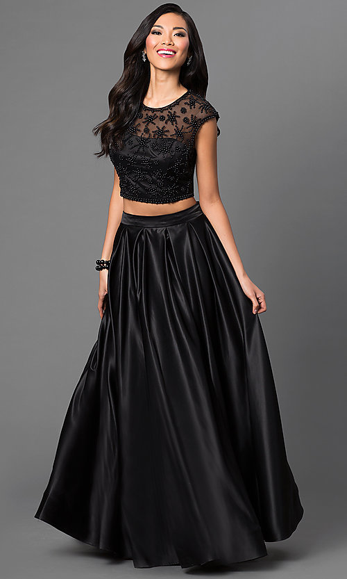 Image of Dave and Johnny two-piece long black formal dress. Style: DJ-1796 Front Image