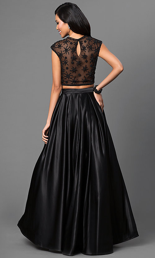 Image of Dave and Johnny two-piece long black formal dress. Style: DJ-1796 Back Image