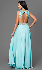 Image of open-back aqua blue prom dress by Dave and Johnny. Style: DJ-2551 Back Image