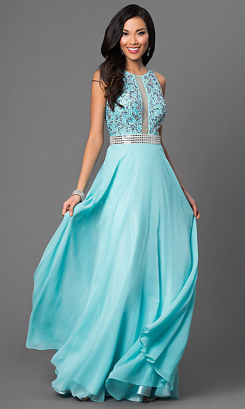 Image of open-back aqua blue prom dress by Dave and Johnny. Style: DJ-2551 Front Image