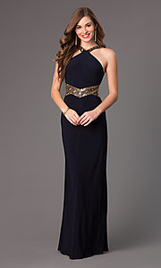 Image of Long Navy Blue Prom Dress Style: BA-A15619 Front Image