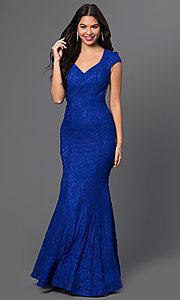 Image of royal-blue lace cap-sleeve formal dress Style: MO-11925 Front Image