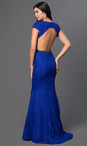 Image of royal-blue lace cap-sleeve formal dress Style: MO-11925 Back Image