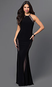 Image of black sleeveless open-back formal gown Style: MO-12019 Front Image