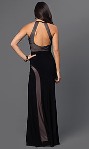 Image of black sleeveless open-back formal gown Style: MO-12019 Back Image