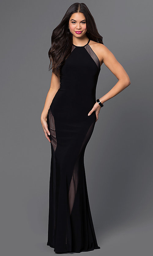 Morgan Sleeveless Open-Back Black Formal Gown
