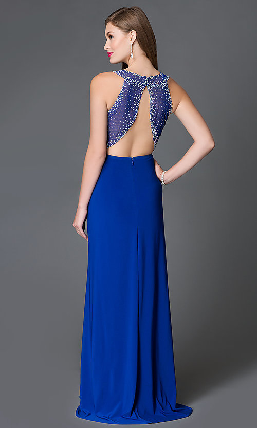 Image of backless cobalt-blue long sheer-waist dress Style: MO-12132 Front Image