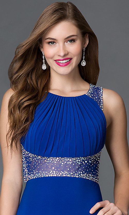 Image of backless cobalt-blue long sheer-waist dress Style: MO-12132 Detail Image 1