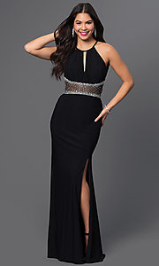 Image of Floor Length Backless Black Prom Dress Style: MO-12143 Front Image
