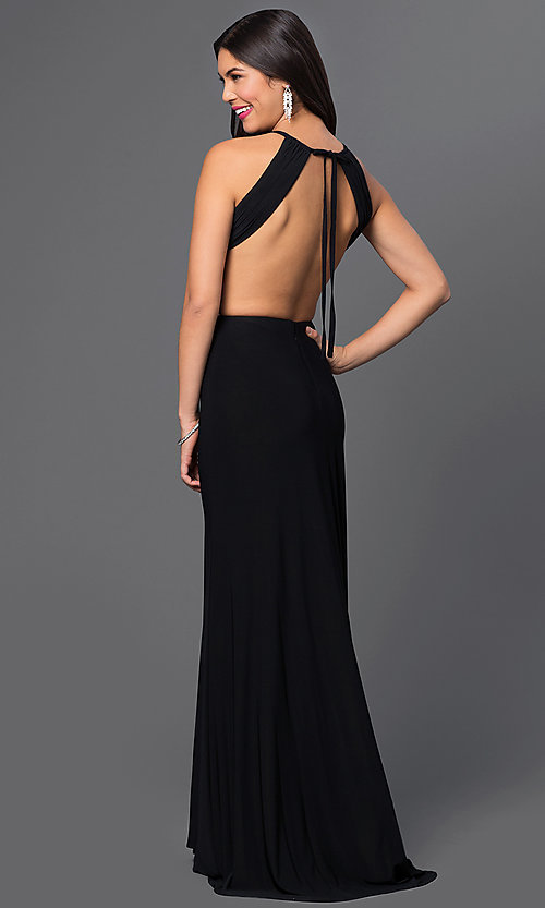 Image of Floor Length Backless Black Prom Dress Style: MO-12143 Back Image