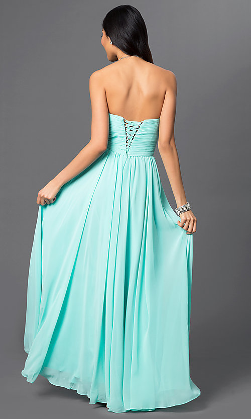 Image of long formal chiffon evening dress with corset. Style: DQ-8789-v Back Image