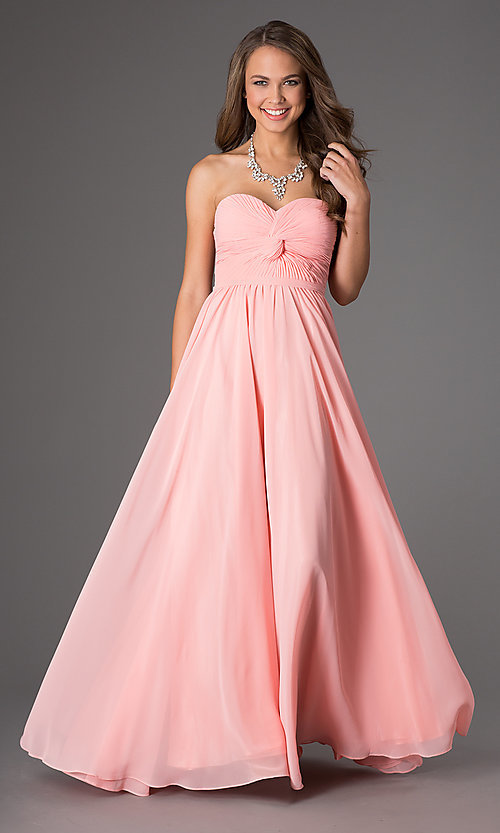 Image of long formal chiffon evening dress with corset. Style: DQ-8789-v Front Image