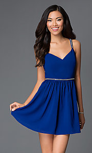 Image of Short Royal Blue Beaded Cocktail Dress Style: AC-DX20968T Front Image