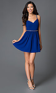 Image of Short Royal Blue Beaded Cocktail Dress Style: AC-DX20968T Detail Image 1