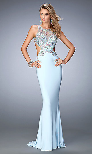 Gigi by La Femme Long Backless Prom Gowns