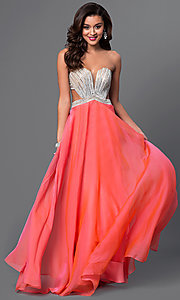 Image of La Femme strapless long formal chiffon dress. Style: LF-22179 Front Image