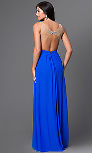 Image of La Femme floor-length open-back gown. Style: LF-22238 Back Image