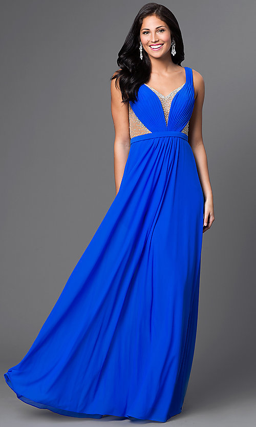 Image of La Femme floor-length open-back gown. Style: LF-22238 Front Image