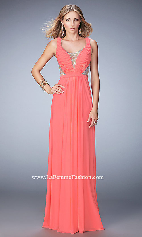 Image of La Femme floor-length open-back gown. Style: LF-22238 Detail Image 1