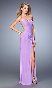 Image of strapless floor-length gown by La Femme. Style: LF-22190 Front Image