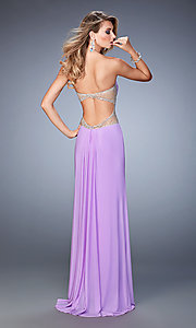 Image of strapless floor-length gown by La Femme. Style: LF-22190 Back Image