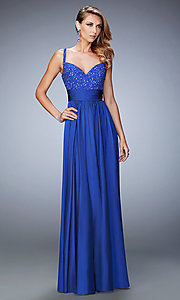 Image of La Femme sleeveless floor-length sweetheart gown. Style: LF-22433 Front Image