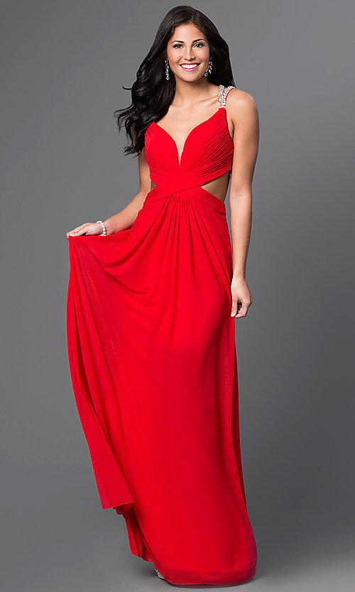 Image of Long Backless Prom Dress Style: LF-22384 Front Image