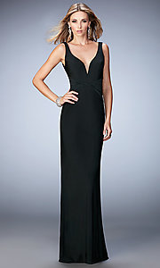 Image of v-neck open-back floor-length gown Style: LF-22060 Front Image