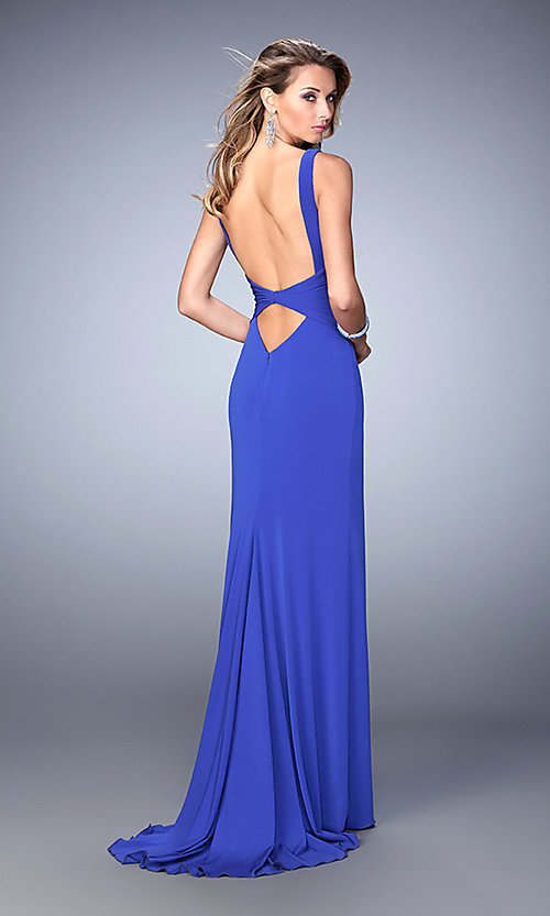 Image of v-neck open-back floor-length gown Style: LF-22060 Back Image