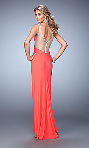 Image of side cut-out beaded-illusion La Femme gown. Style: LF-21886 Back Image