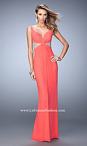 Image of side cut-out beaded-illusion La Femme gown. Style: LF-21886 Front Image