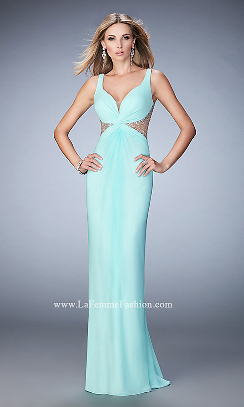 Image of side cut-out beaded-illusion La Femme gown. Style: LF-21886 Detail Image 1