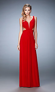 Image of La Femme cut-out long formal dress with v-neck. Style: LF-21889 Detail Image 1