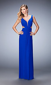 Image of La Femme cut-out long formal dress with v-neck. Style: LF-21889 Front Image