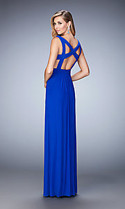 Image of La Femme cut-out long formal dress with v-neck. Style: LF-21889 Back Image