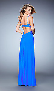 Image of La Femme floor-length backless gala dress. Style: LF-22068 Back Image