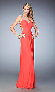 Image of La Femme floor-length backless gala dress. Style: LF-22068 Front Image