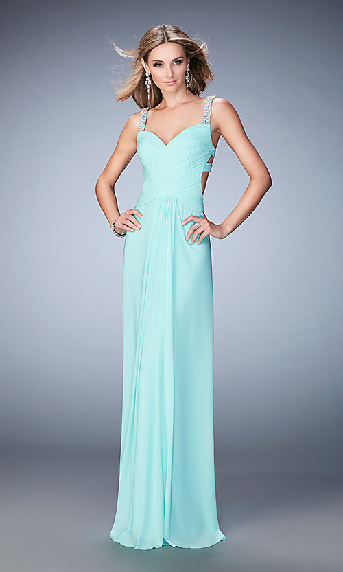 Image of La Femme floor-length backless gala dress. Style: LF-22068 Detail Image 1