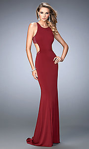 Image of La Femme floor-length sleeveless open-back gown. Style: LF-22469 Front Image