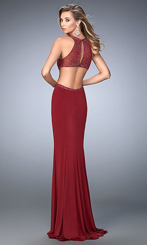 Image of La Femme floor-length sleeveless open-back gown. Style: LF-22469 Back Image
