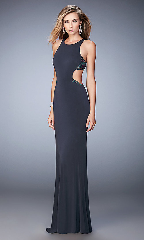 Image of La Femme floor-length sleeveless open-back gown. Style: LF-22469 Detail Image 1