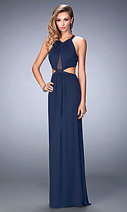 Image of sleeveless La Femme long cut-out prom gown Style: LF-22664 Front Image