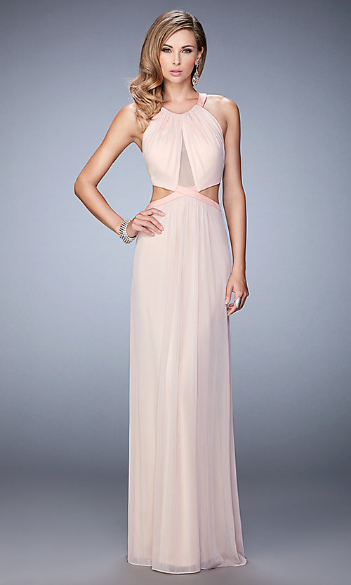 Image of sleeveless La Femme long cut-out prom gown Style: LF-22664 Detail Image 2