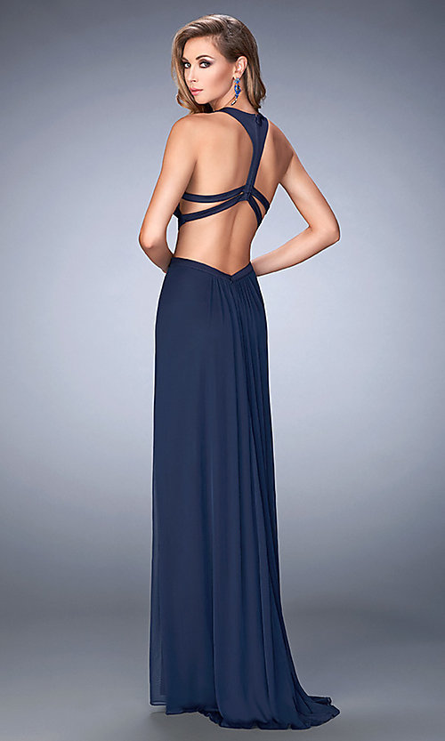 Image of sleeveless La Femme long cut-out prom gown Style: LF-22664 Back Image