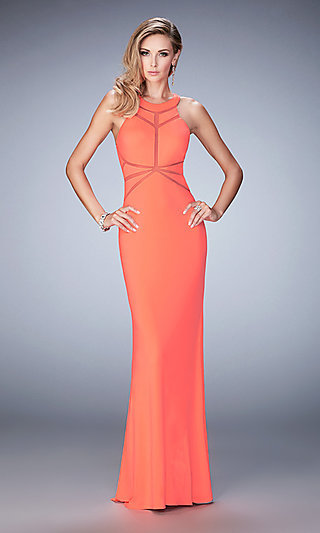 La Femme Open Back High Neck Prom Dress