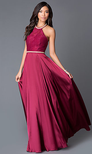 Long Beaded Halter-Top Open-Back Formal Gown