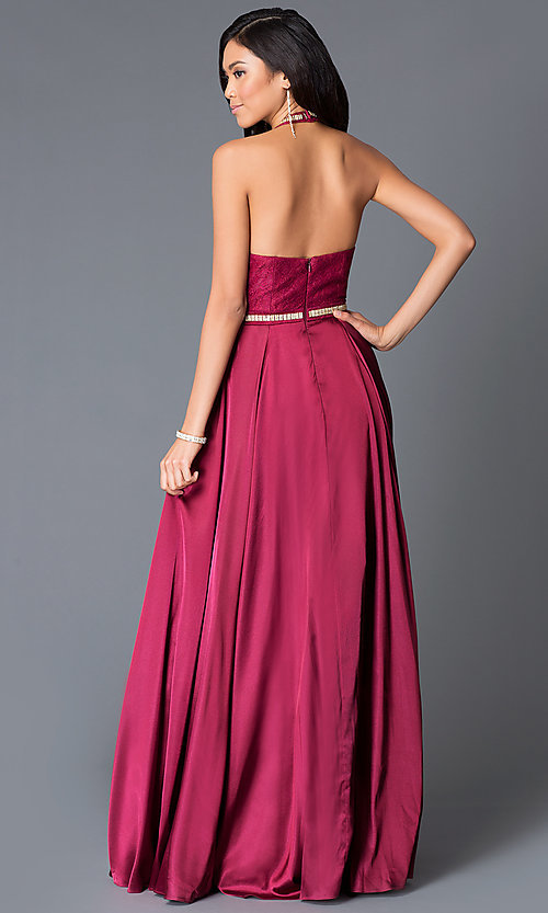 Image of long beaded halter-top open-back formal gown Style: NA-8198Q Back Image