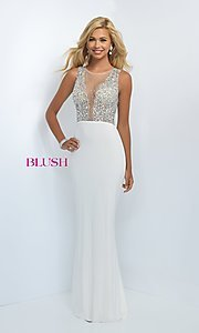 Image of Floor-Length Gown with Beaded Illusion Top Style: BL-11009 Front Image